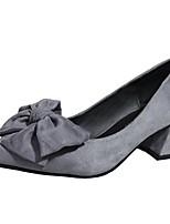 Femme Chaussures Cachemire Automne Confort Chaussures à Talons Gros Talon Bout pointu Noeud Pour Décontracté Noir Gris Rouge