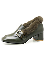 Women's Shoes Leatherette Fall Winter Comfort Heels Chunky Heel Closed Toe Buckle For Casual Dress Army Green Yellow Black