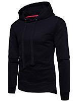 Men's Casual/Daily Simple Hoodie Solid Hooded Inelastic Cotton Long Sleeve Fall