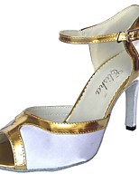 Women's Latin Satin Sandal Indoor Customized Heel White/Silver White