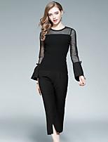 Camicia Pantalone Completi abbigliamento Da donna Per uscire Casual Moda città Autunno,Tinta unita Rotonda Traforato Spacco Manica lunga