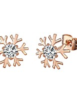 Women's Stud Earrings AAA Cubic Zirconia Bohemian Gold Plated Snowflake Jewelry For Party Birthday Daily Office & Career