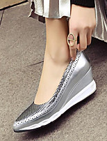 Women's Shoes Cowhide Spring Comfort Heels Wedge Heel Pointed Toe For Casual Silver Black
