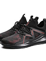 Men's Shoes PU Spring Fall Comfort Athletic Shoes Running Shoes Lace-up For Casual Outdoor Black/Red Black/White Black