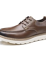 Men's Oxfords Comfort Spring Summer Fall Winter Cowhide Casual Lace-up Flat Heel Brown Black Flat