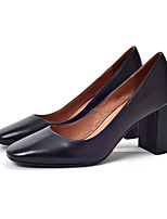 Women's Shoes Cowhide Spring Fall Basic Pump Heels Chunky Heel Square Toe For Office & Career Dress Almond Black