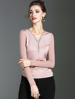 XSSL Women's Holiday Going out Sexy Cute Street chic Spring Fall T-shirtSolid V Neck Long Sleeves Polyester Medium