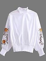 Women's Casual/Daily Cute Spring Fall Shirt,Embroidery Stand Long Sleeves Cotton Others Medium