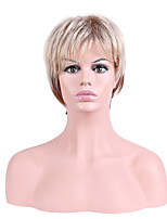 Women Synthetic Wig Capless Short Straight Brown Ombre Hair Natural Hairline Layered Haircut Party Wig Halloween Wig Cosplay Wig Natural