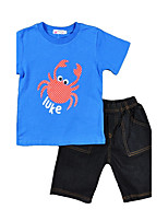 Boys' Print Sets,Cotton Summer Short Sleeve Clothing Set