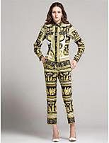 T-shirt Pantalone Completi abbigliamento Da donna Casual Semplice Autunno,Tinta unita Con stampe Colletto Manica lunga