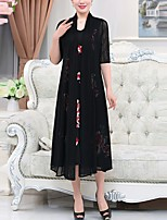 Women's Plus Size Casual/Daily Simple Loose Swing Dress,Solid Embroidered Asymmetrical Midi Half Sleeves Polyester Spring Fall Mid Rise