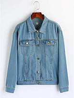 Women's Going out Cute Winter Denim Jacket,Print Shirt Collar Long Sleeve Regular Cotton