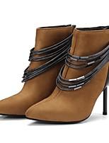 Feminino Sapatos Pele Nobuck Materiais Customizados Outono Inverno Conforto Gladiador Curta/Ankle Coturnos Solados com Luzes Botas Salto