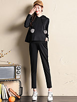 Women's Sports Work Simple Fall Winter Hoodie Pant SuitsSolid Hooded Long Sleeve Micro-elastic