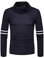 Herren Standard Pullover-Lässig/Alltäglich Einfach Solide Gestreift Kapuze Langarm Baumwolle Herbst Winter Mittel Dehnbar