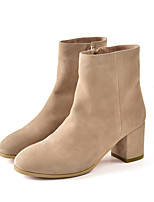 Women's Shoes Suede Fall Winter Fashion Boots Boots Chunky Heel Round Toe Booties/Ankle Boots Zipper For Office & Career Dress Khaki