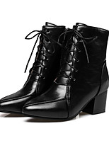 Women's Shoes PU Fall Winter Comfort Novelty Fashion Boots Bootie Boots Chunky Heel Pointed Toe Booties/Ankle Boots Lace-up For Office &