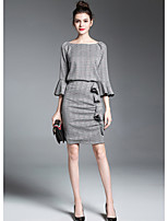ZIYI Women's Going out Street chic Fall T-shirt Skirt SuitsStriped Round Neck  Sleeve Micro-elastic