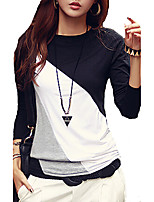 Women's Sports Holiday Casual/Daily Simple Street chic All Seasons T-shirt,Color Block Round Neck Long Sleeves Cotton Polyester Medium
