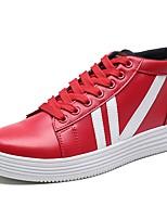 Da uomo Scarpe PU (Poliuretano) Primavera Autunno Suole leggere Sneakers Lacci Per Casual Bianco Nero Rosso
