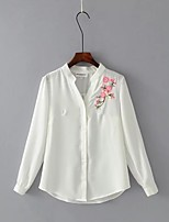 Women's Casual/Daily Cute Spring Fall Shirt,Solid Embroidery V Neck Long Sleeves Cotton Thin Medium