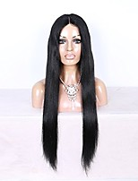 Women Human Hair Lace Wig Brazilian Human Hair 360 Frontal 180% Density With Baby Hair Straight Wig Black Medium Brown Dark Brown Black