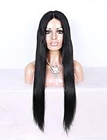 Donna Parrucche di capelli umani con retina Brasiliano Cappelli veri 360 frontale 180% Densità Con ciuffetti Lisci Parrucca Nero Marrone