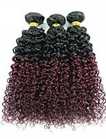 vierge Cheveux Brésiliens A Ombre Très Frisé Extensions de cheveux 3 Pièces noir Bordeaux / Foncé