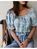 Women's Casual/Daily Simple Shirt,Plaid Boat Neck Short Sleeves Others