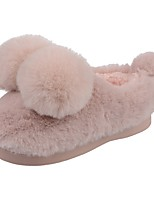 Girls' Shoes Velvet Winter Fur Lining Fluff Lining Comfort First Walkers Slippers & Flip-Flops Pom-pom For Casual Light Pink Dark Red