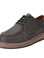 Shoes PU Spring Fall Comfort Oxfords Lace-up for Black Gray Brown