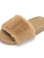 Women's Shoes Feather/ Fur Summer Fall Comfort Slippers & Flip-Flops For Casual Khaki Blushing Pink Black