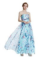 A-Line Strapless Floor Length Chiffon Prom Dress with Draping Pattern / Print by W.JOLI
