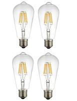 6W E27 LED Filament Bulbs ST64 6 COB 560 lm Warm White White 2200-6500 K Decorative AC 220-240 V 4pcs