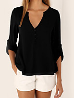 Women's Holiday Casual/Daily Simple Street chic T-shirt,Solid V Neck 3/4 Length Sleeves Polyester