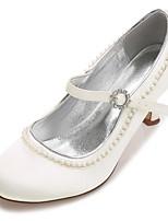 Women's Shoes Satin Spring Summer Basic Pump Comfort Wedding Shoes Low Heel Kitten Heel Stiletto Heel Round Toe Rhinestone Pearl