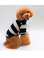 Dog Sweatshirt Dog Clothes Casual/Daily Stripe Khaki Blushing Pink Green Red Gray