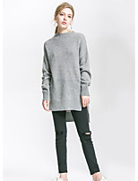 Women's Going out Simple Regular Pullover,Solid Round Neck Long Sleeves Nylon Fall Medium Micro-elastic