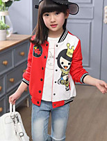 Girls' Print Jacket & Coat,Polyester Fall Winter Long Sleeve