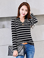 Women's Going out Casual/Daily Simple Spring Fall T-shirt,Striped Leopard V Neck Long Sleeves Cotton