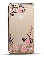 Per iPhone 6 iPhone 6 Plus Custodie cover Con diamantini Placcato Ultra sottile Fantasia/disegno Custodia posteriore Custodia Fiore