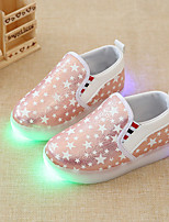 Girls' Shoes Synthetic Summer Fall Light Up Shoes Moccasin Comfort Loafers & Slip-Ons LED For Casual Party & Evening Blushing Pink Silver