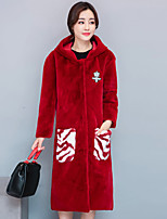 Women's Going out Street chic Fall Winter Fur Coat,Solid Color Block Hooded Long Sleeve Long Cashmere Polyester