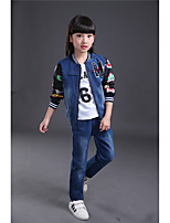 Girls' Others Floral Patchwork Sets,Cotton Spring Fall Long Sleeve Clothing Set