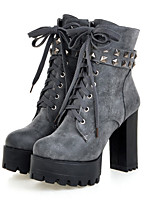 Women's Shoes Suede Fall Winter Comfort Novelty Fashion Boots Bootie Boots Chunky Heel Round Toe Booties/Ankle Boots Rivet Lace-up For