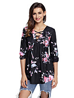 Women's Holiday Going out Cute Fall Shirt,Floral V Neck 3/4 Length Sleeves Polyester Spandex