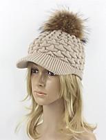 Women Wool Acrylic Raccoon Fur Floppy Hat Ski Hat Baseball Cap Sun Hat,Hat Knitwear Hats Solid Fall Winter Pure Color