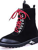 Women's Shoes PU Fall Winter Gladiator Combat Boots Boots Low Heel Round Toe Lace-up For Casual Outdoor Light Brown Black