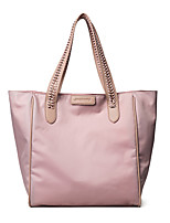Women Bags All Seasons PU Tote Zipper for Casual Office & Career Black Blushing Pink